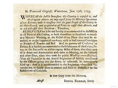 Notice to the Militia to Be Ready to Act at a Minute's Warning, Massachusetts, June 17, 1775