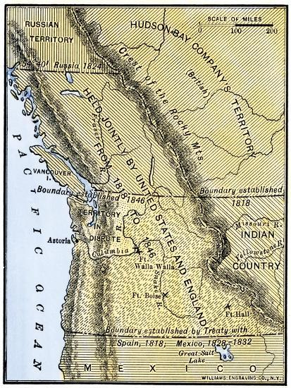 Map Of Oregon Territory Showing Boundary Of U S With English Canada