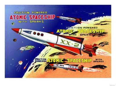 Friction Powered Atomic Spaceship with Sparks