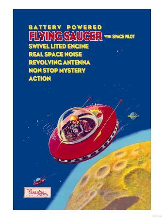 Battery Powered Flying Saucer with Space Pilot