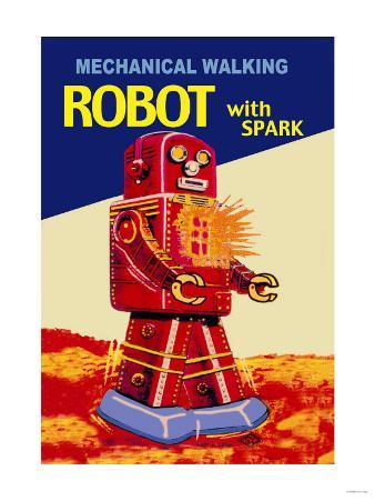 Mechanical Walking Red Robot with Spark
