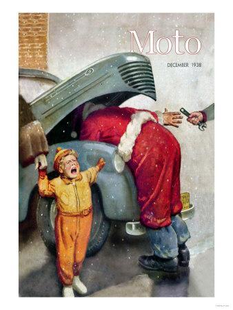 Boy Upset to See Santa Mechanic under Car Hood