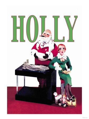 Santa Looks over Letters with Secretary