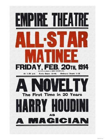 A Novelty, The First in 20 Years, Harry Houdini as a Magician