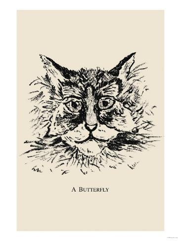 optical illusion puzzle  cat and butterfly posters at