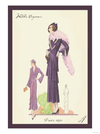 Modern Violet Dress with Boa