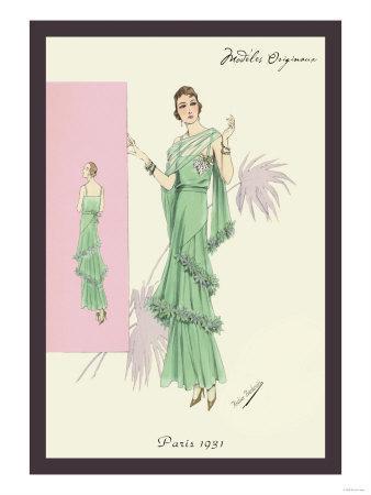 Playful Green Evening Gown