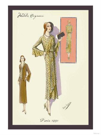 Ruffled Autumn Dress and Overcoat