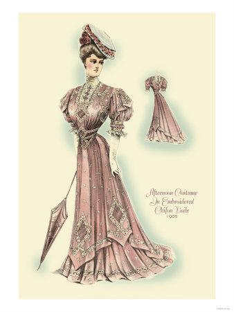 Afternoon Costume in Embroidered Chifon Voile