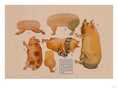 Paper Cutout Pig Dolls