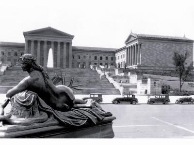 Statue in Front of Philadelphia Museum of Art