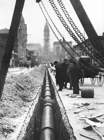 Installing a Water Pipe, North Broad Looking South, Philadelphia, Pennsylvania