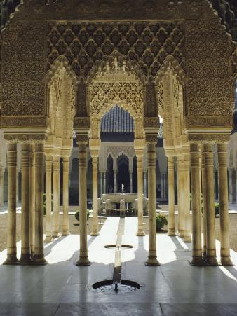 Moorish Architecture of the Court of the Lions, the Alhambra, Granada, Andalucia (Andalusia), Spain