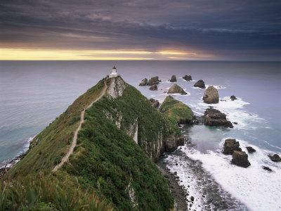 Nugget Point Lighthouse on the Coast and Overcast Sky, the Catlins, South Island, New Zealand