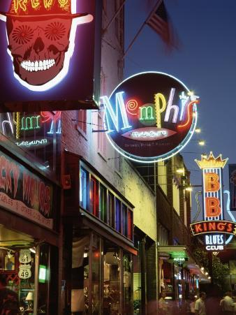 The Famous Beale Street at Night, Memphis, Tennessee, United States of America, North America