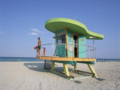 Art Deco Style Lifeguard Hut, South Beach, Miami Beach, Miami, Florida, United States of America