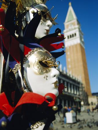 Carnival Masks on Souvenir Stand and Campanile, St. Marks Square, Venice, Veneto, Italy