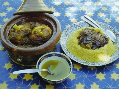 Traditional Food Including Chicken Tajine and Lamb with Couscous, Marrakech (Marrakesh), Morocco