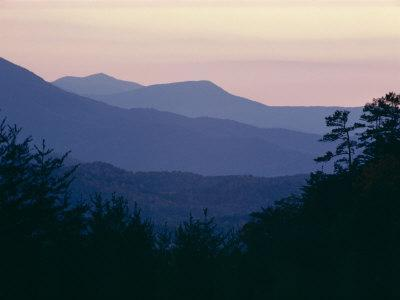 View of Afterglow from Foothills Park, West of Appalachian Mountains, Tennessee, USA