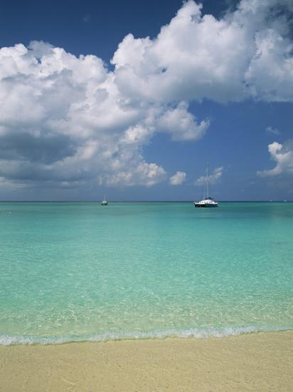still turquoise sea off seven mile beach grand cayman cayman