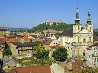 Rooftops and St. Michael's Church, Brno, Czech Republic, Europe