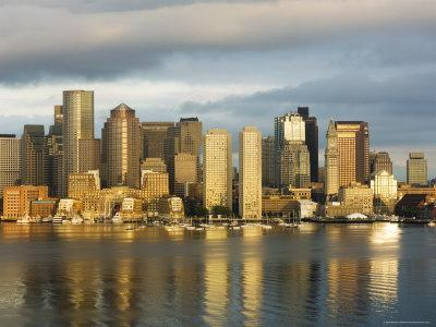 The Skyline of the Financial District Across Boston Harbor at Dawn, Boston, Massachusetts, USA