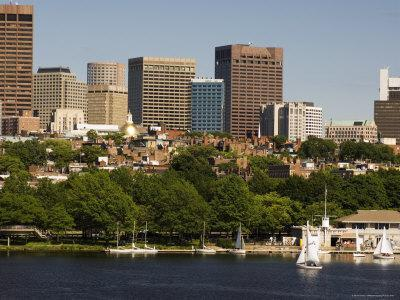 Beacon Hill and City Skyline Across the Charles River, Boston, Massachusetts, USA