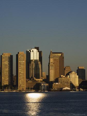 City Skyline Across Boston Harbor at Dawn, Boston, Massachusetts, USA