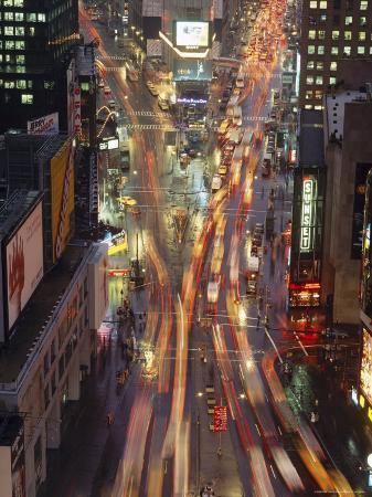 Night Time View of Lights in Times Square in New York, USA