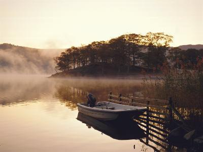 Early Morning Mist and Boat, Derwent Water, Lake District, Cumbria, England