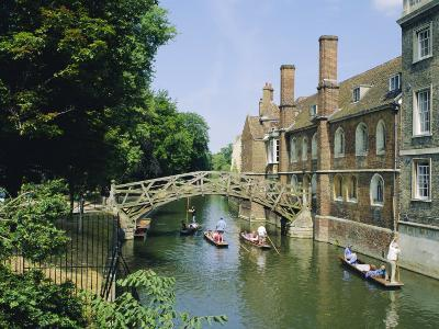 Mathematical Bridge and Punts, Queens College, Cambridge, England