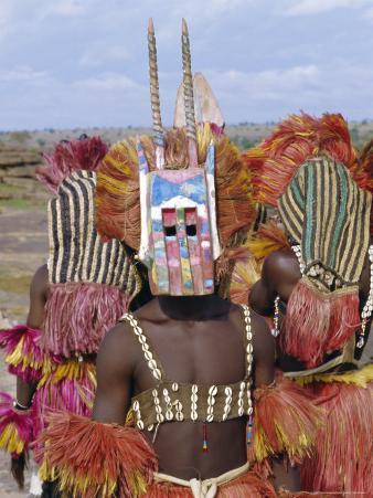 Dogon Tribesman Wearing Antelope Mask and Headress, Mali, Africa