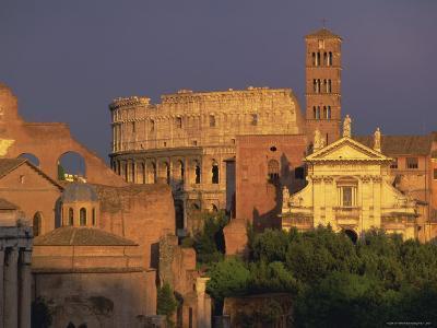 View Across the Roman Forum Towards Colosseum and St. Francesco Romana, Rome, Lazio, Italy, Europe