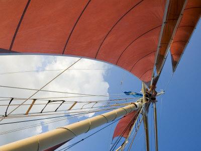 Red Sails on Sailboat That Takes Tourists out for Sunset Cruise, Key West, Florida, USA