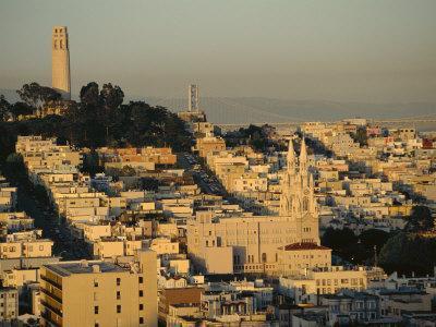 Coit Tower and Telegraph Hill at Dusk, San Francisco, California, USA