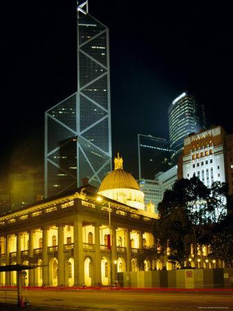 The Bank of China Building and the Old Supreme Court Building by Night, Hong Kong, China, Asia