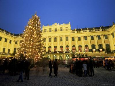 Christmas Tree in Front of Schonbrunn Palace at Dusk, Unesco World Heritage Site, Vienna, Austria