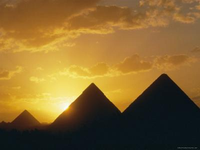 Sunset, the Pyramids, Giza, Unesco World Heritage Site, Cairo, Egypt, North Africa, Africa
