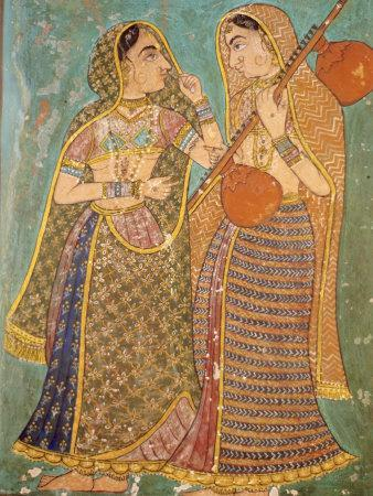 Wall Painting in the Palace, Bundi, Rajasthan, India, Asia
