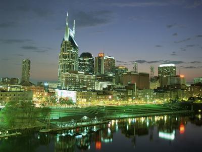 City Skyline and Cumberland River at Dusk, Riverfront Park, Nashville, Tennessee, USA