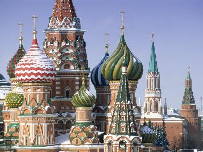 St. Basil's Christian Cathedral in Winter Snow, Moscow, Russia