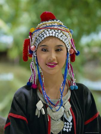 Portrait of an Akha Hill Tribe Woman in Traditional Clothing, Mae Hong Son Province