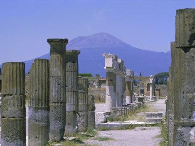 Mount Vesuvius Seen from the Ruins of Pompeii, Campania, Italy