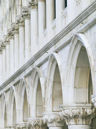 White Columns and Arches of Ducale Palace, St. Mark's Square, Venice, Veneto, Italy