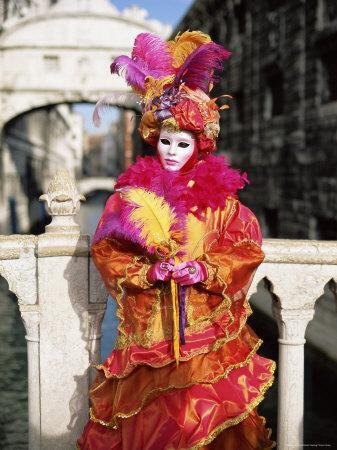 Person Dressed in Carnival Mask and Costume, Veneto, Italy