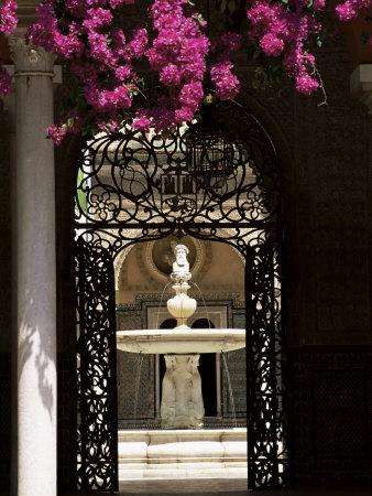 View Through Wrought Iron Gateway to the Patio Principal, Andalucia (Andalusia), Spain