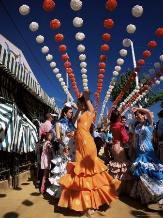 Girls Dancing a Sevillana Beneath Colourful Lanterns, Feria De Abril, Seville, Andalucia, Spain