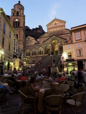 Busy Pavement Cafe at Dusk, with the Cathedral Beyond, Amalfi, Campania, Italy