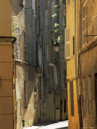 Narrow Sunlit Street in Old Aix, Provence-Alpes-Cote-D'Azur, France