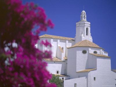 Bourgainvillea Flowers and White Christian Church, Cadaques, Costa Brava, Catalonia, Spain
